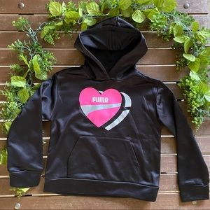 Puma Kids Girls Hooded Sweatshirt Black Size 7/S